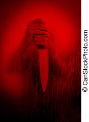 Horror scene of woman with knife behind stained or dirty window glass, Serial killer or violence concept background