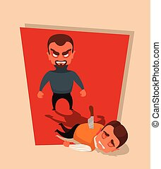 Killer character killed businessman. Vector flat cartoon...