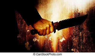 Horror scene of man with knife, Serial killer or violence concept background