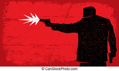 Killer - Illustration of man shooting with pistol. No...