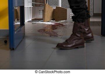 Killer leaving a crime scene...