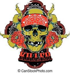Killer skull and roses
