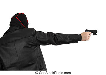 Killer - Disguised killer with handgun - isolated on white