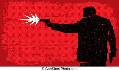 Killer - Illustration of man shooting with pistol. No...