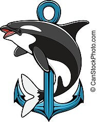 Killer Whale and Anchor. Heraldic icon