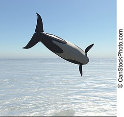 Killer Whale Jumping 3d rendering