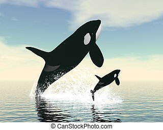 Killer whale mum and baby - 3D render - Killer whale mum and...
