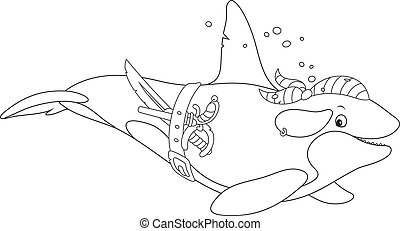 Black and white vector illustration of an orca swimming with a bandana, a pirate saber and a pistol