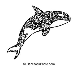 Killer Whale Zentangle Illustration - Ethnic Animal Doodle...