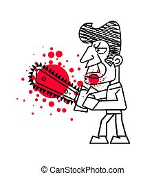 Killer with Bloody knife in hand vector. Isolated images on white background.