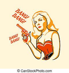 Killer woman - Gangster woman in retro three color print...