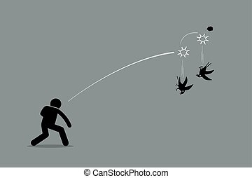 Vector artwork depicts a man throwing a rock at two birds and killing both of them at once. Concept of efficiency, productivity, skillful, and good strategy.