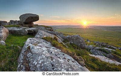 Kilmar Tor on Bodmin Moor in Cornwall