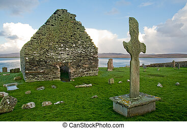 Kilnave church and cross - Kilnave parish church and cross,...