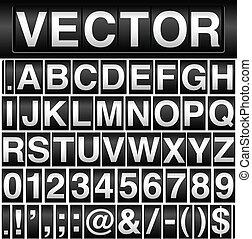 kilometerzähler, alphabet, zahlen