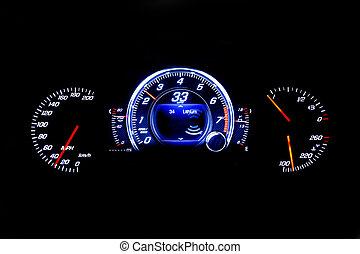 kilometraje, 33, luz, moderno, mph, fondo negro, coche