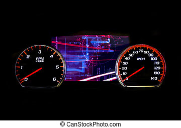 kilometraje, luz, moderno, fondo negro, coche, futurista