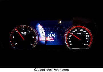 kilometraje, luz, moderno, mph, 38, negro, coche, rpm