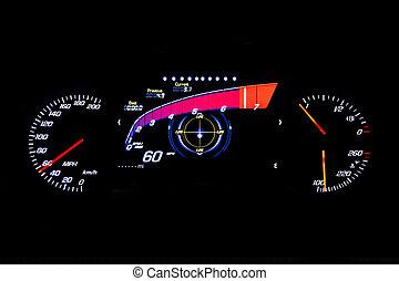 kilometraje, luz, moderno, mph, 60, fondo negro, coche