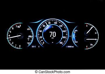 kilometraje, luz, moderno, mph, fondo negro, coche, 70