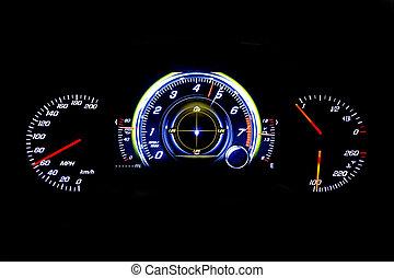 kilometraje, luz, moderno, mph, fondo negro, coche