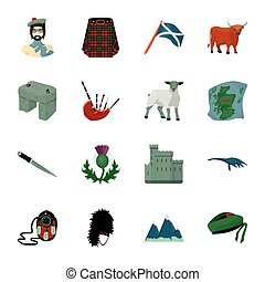 Kilt, bagpipes, thistles are national subjects of Scotland. Scotland set collection icons in cartoon style vector symbol stock illustration web.