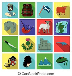 Kilt, bagpipes, thistles are national subjects of Scotland. Scotland set collection icons in flat style vector symbol stock illustration web.