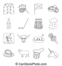 Kilt, bagpipes, thistles are national subjects of Scotland. Scotland set collection icons in line style vector symbol stock illustration web.
