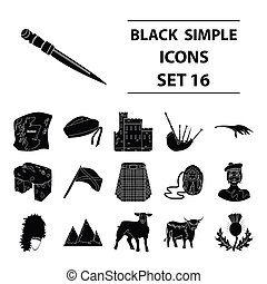 Kilt, bagpipes, thistles are national subjects of Scotland. Scotland set collection icons in black style vector symbol stock illustration web.