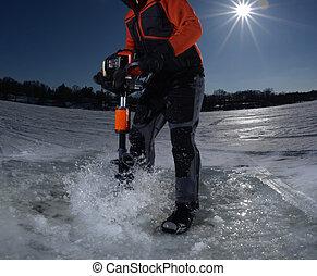 kilyukaszt, halászat, fúrás, jég, ember