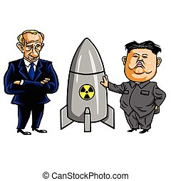 Kim Jong-un and Nuclear Weapon with Vladimir Putin. Vector...