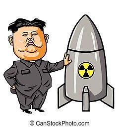 kim, jong-un, con, nuclear, misil, caricatura, vector,...