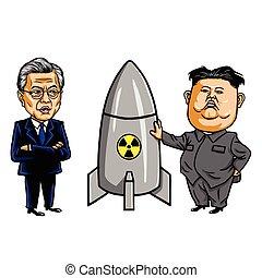 Kim Jong-un VS Moon Jae-in. Cartoon Caricature Vector Illustration. September 20, 2017