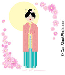 an illustration of a japanese lady in traditional clothing with pink cherry blossom under a big yellow sun