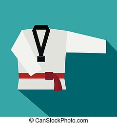 Kimono and martial arts red belt flat icon on a blue...