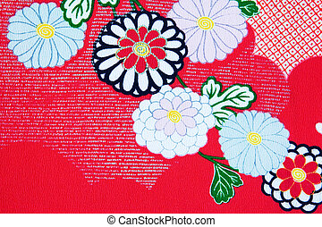Kimono design - Close up of the floral design on a Japanese ...