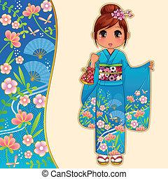 kimono girl - manga girl in kimono standing next to a...