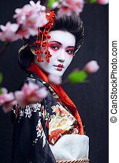 kimono, joven, bastante, geisha