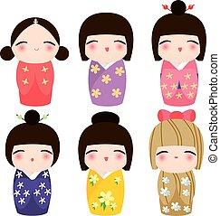 Kimono Kokeshi Doll Set