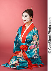 kimono, mujer, facepaint, japonés, geisha