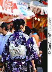 kimono, niñas, japonés
