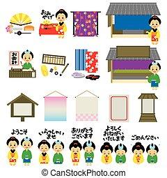 Kimono shops in Japan's Edo era, Japanese version, vector...