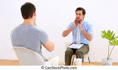 kinésithérapeute, patient, conversation