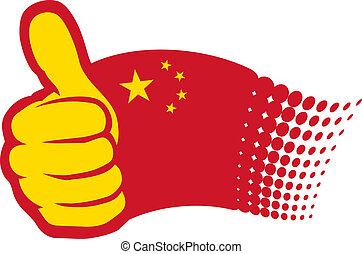 kina, flag., hånd, viser, tommelfingre oppe