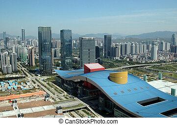 kina, shenzhen, byen, aerial udsigt