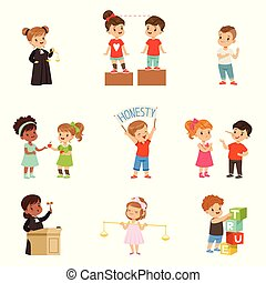 Kind and fair little children set, kids protecting friends,...