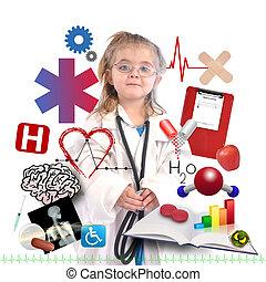 kind, arts, met, academisch, carrière, op wit