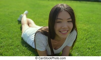 Kind beautiful girl smiling at you - Positive emotions. Kind...