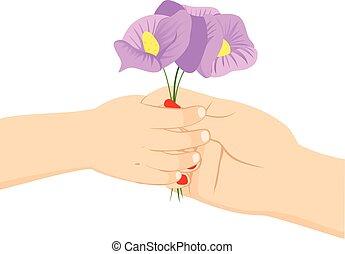kind, bloem, dag, mamma, vasthouden
