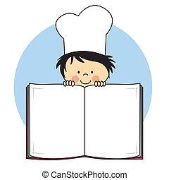 kind, boek, kok